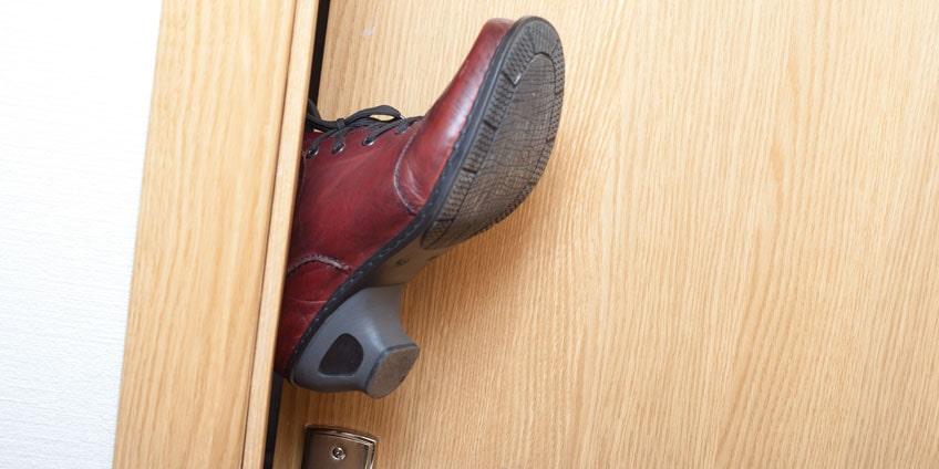 Foot in a door