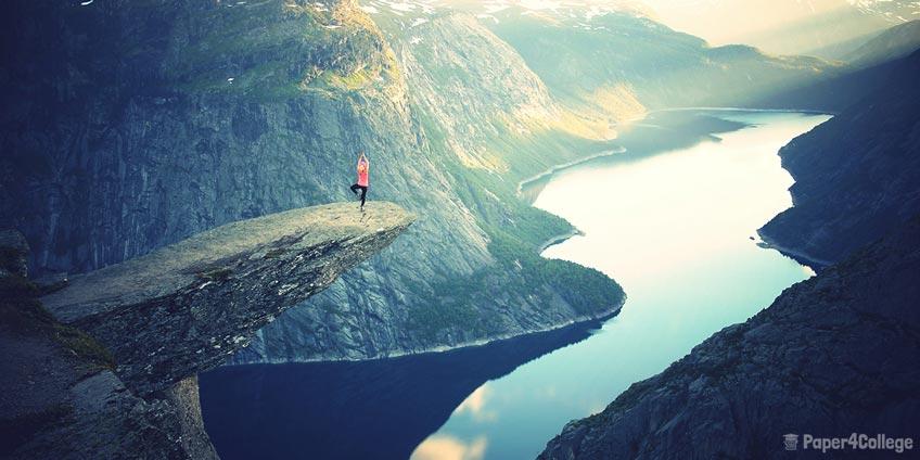 Girl on Edge of Cliff
