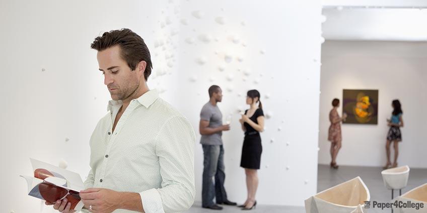 Man in Modern Art Gallery